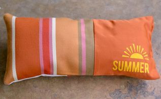 easy summer pillow for outside, crafts, how to, outdoor furniture, reupholster