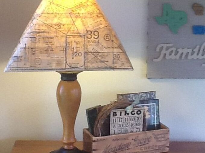 updated lampshade with sewing pattern, crafts, decoupage, lighting