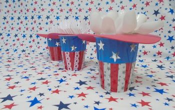 cheap adorable 4th of july plasticware holders, crafts, how to, patriotic decor ideas
