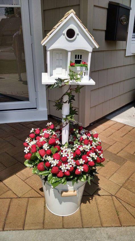 Strawberry Birdhouse Flower Bucket