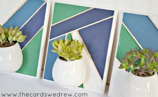 geometric succulent wall planters, container gardening, crafts, gardening, wall decor