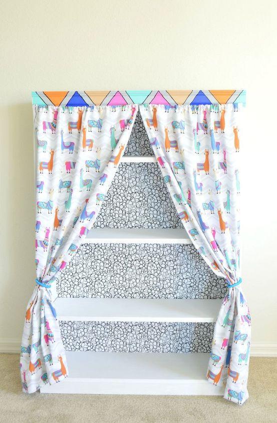 bookshelf makeover how to add curtains to bookshelf, how to, shelving ideas