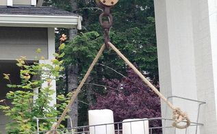 diy hanging wire basket on an old pulley, container gardening, crafts, diy