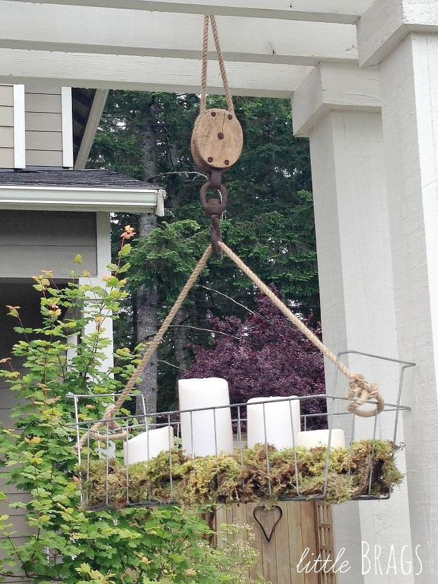 DIY Hanging Wire Basket On An Old Pulley   Hometalk