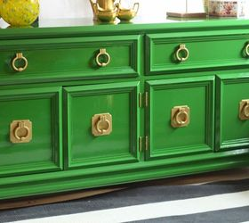 Attractive Buffet In Brilliant Green, Painted Furniture