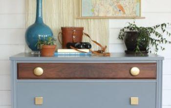 Eclectic Gray, Walnut & Gold Dresser