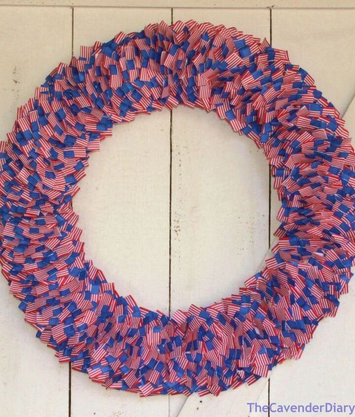 s 16 patriotic wreaths that will fill you with pride, crafts, seasonal holiday decor, wreaths, Mini American Flag Ring