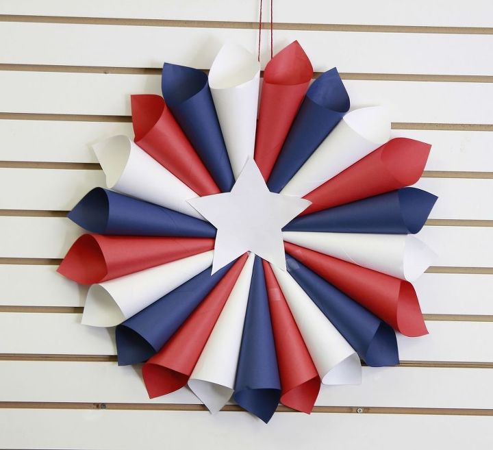 s 16 patriotic wreaths that will fill you with pride, crafts, seasonal holiday decor, wreaths, Paper Rolled Red White and Blue