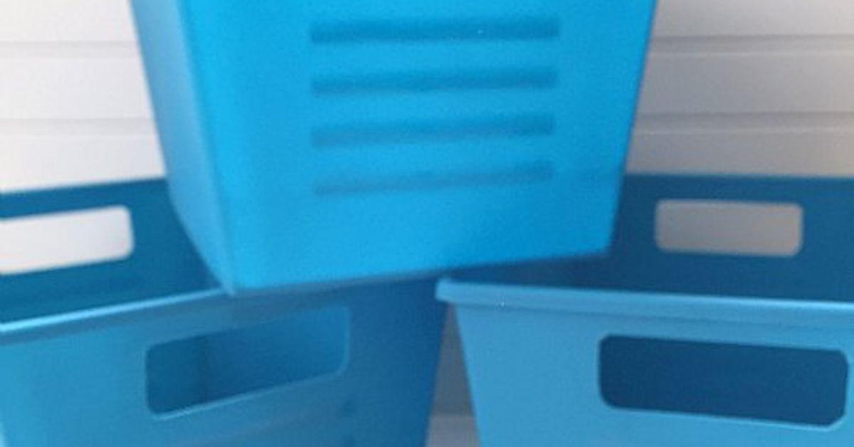 Plastic Dollar Store Bins Turned Faux Metal Storage Hometalk