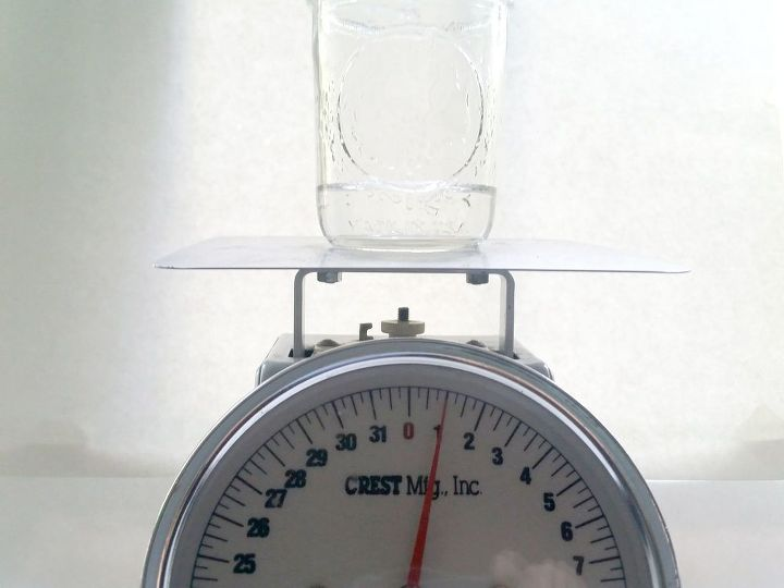 Put glass jar on scale and add 1 oz of water