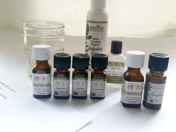 Layout all oils in a row, recipe and pen