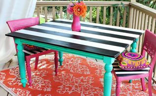 patio table makeover, outdoor living, painted furniture