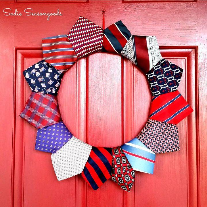 thrifted necktie patriotic wreath, crafts, how to, patriotic decor ideas, repurposing upcycling, seasonal holiday decor, wreaths