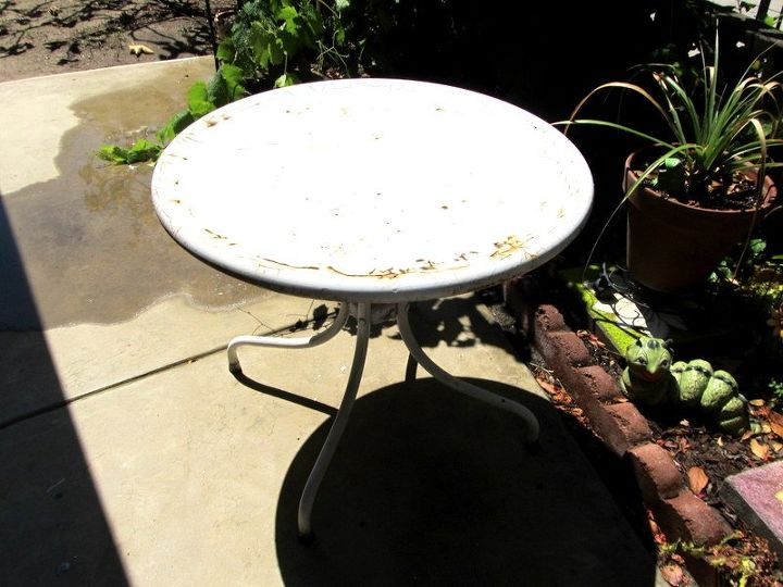garden table just missed the dumpster , outdoor furniture, painted furniture