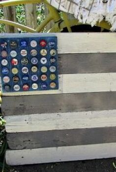 american flag made with pickets, outdoor living, painted furniture, patriotic decor ideas, seasonal holiday decor