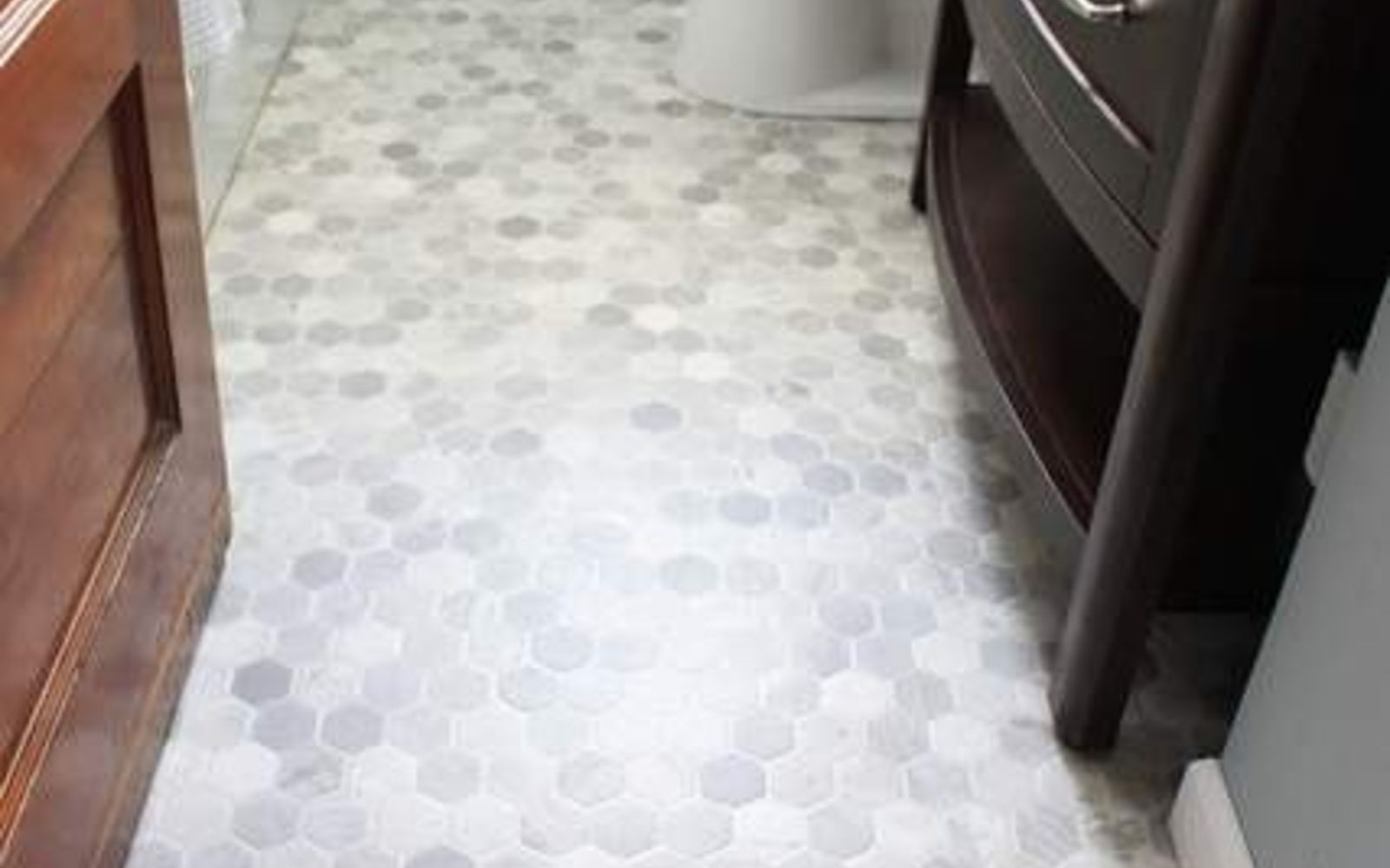 s 11 actually helpful tricks for decorating a small bathroom, bathroom ideas, Cut a brand new floor out of one vinyl sheet