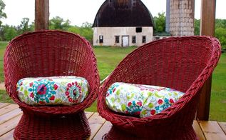 two wicker chairs get a bold makeover in red , outdoor furniture, outdoor living, painted furniture