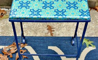 mod podged outdoor table, decoupage, outdoor furniture, painted furniture