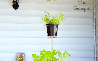 hanging herb baskets from thrift store lampshades, container gardening, crafts, repurposing upcycling