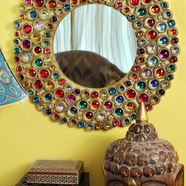 cardboard bejeweled mirror, diy, home decor, painted furniture, repurposing upcycling, wall decor