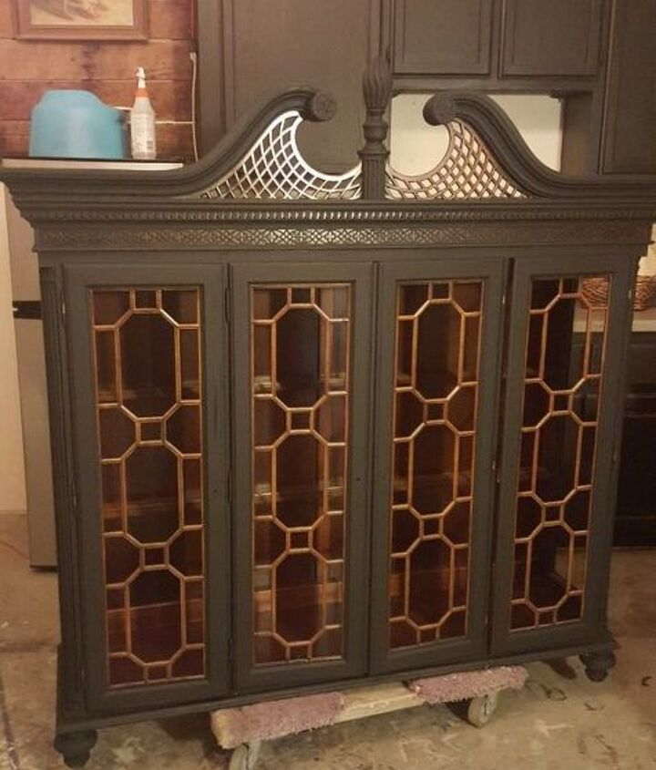 abandoned hutch top turned curio, painted furniture, repurposing upcycling