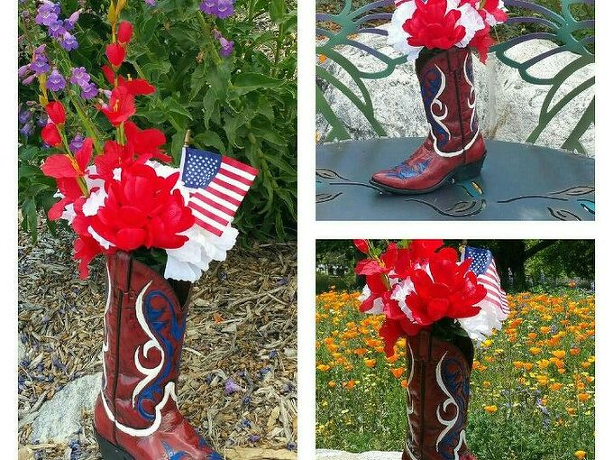 these boot s where made for spittin , crafts, gardening, patriotic decor ideas, repurposing upcycling, seasonal holiday decor