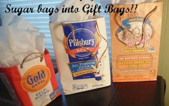how to turn empty flour sugar bags into gift bags, crafts, how to, repurposing upcycling