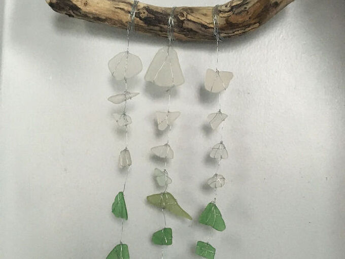 sea glass drift wood wind chime from vacation mementos, crafts, outdoor living