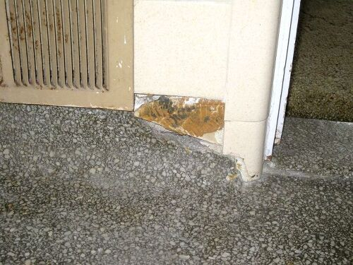 Terrazzo floor repair needed hometalk this is the damage by the door frame and register solutioingenieria Choice Image
