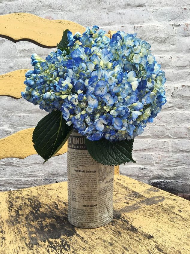 newspaper print cement vase, concrete masonry, container gardening, crafts, gardening, repurposing upcycling