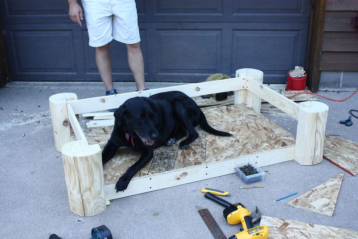 rustic log dog bed, how to, pets, pets animals, woodworking projects