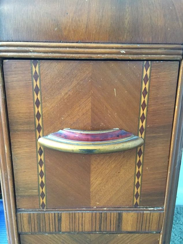 q best way to clean strip and preserve veneer wood, cleaning tips, woodworking projects, Front of dresser and handle