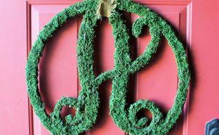 moss monogram letter, crafts, doors, how to