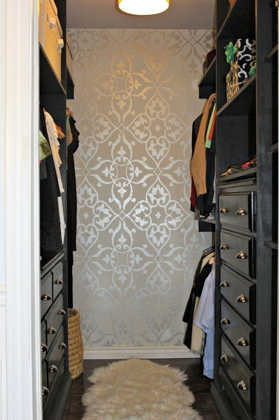 s 13 beauty hacks for your overstuffed closet, closet, doors, organizing, Add shimmering wallpaper