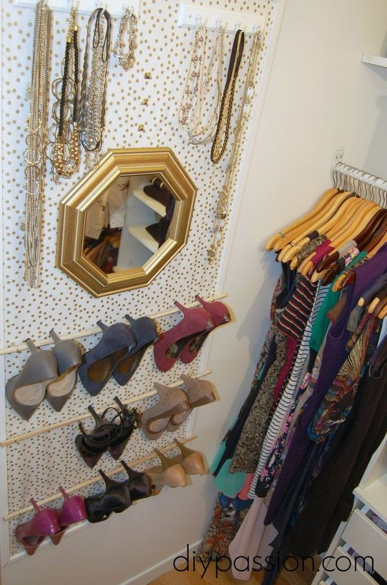 s 13 beauty hacks for your overstuffed closet, closet, doors, organizing, Add a framed organizer to a free wall