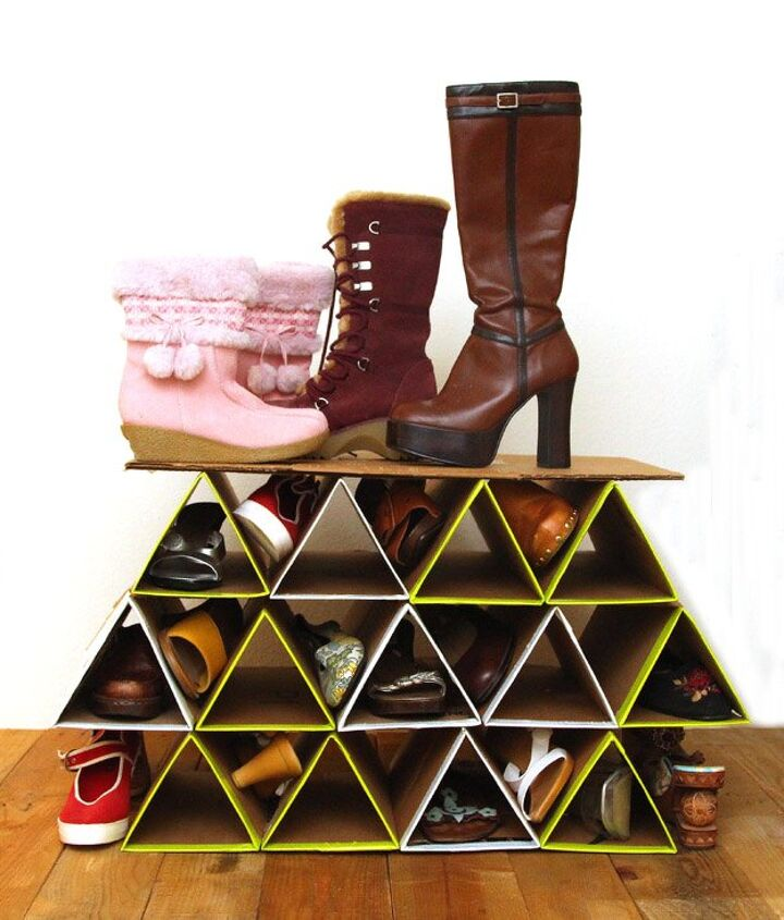 s 13 beauty hacks for your overstuffed closet, closet, doors, organizing, Make a trendy shoe holder for everyday pairs