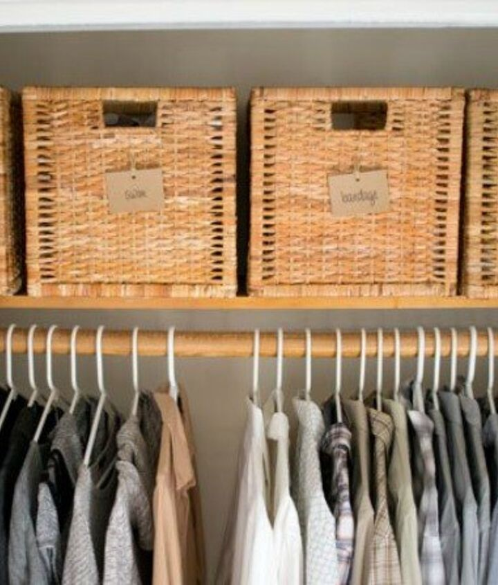 s 13 beauty hacks for your overstuffed closet, closet, doors, organizing, Streamline your storage with pretty baskets