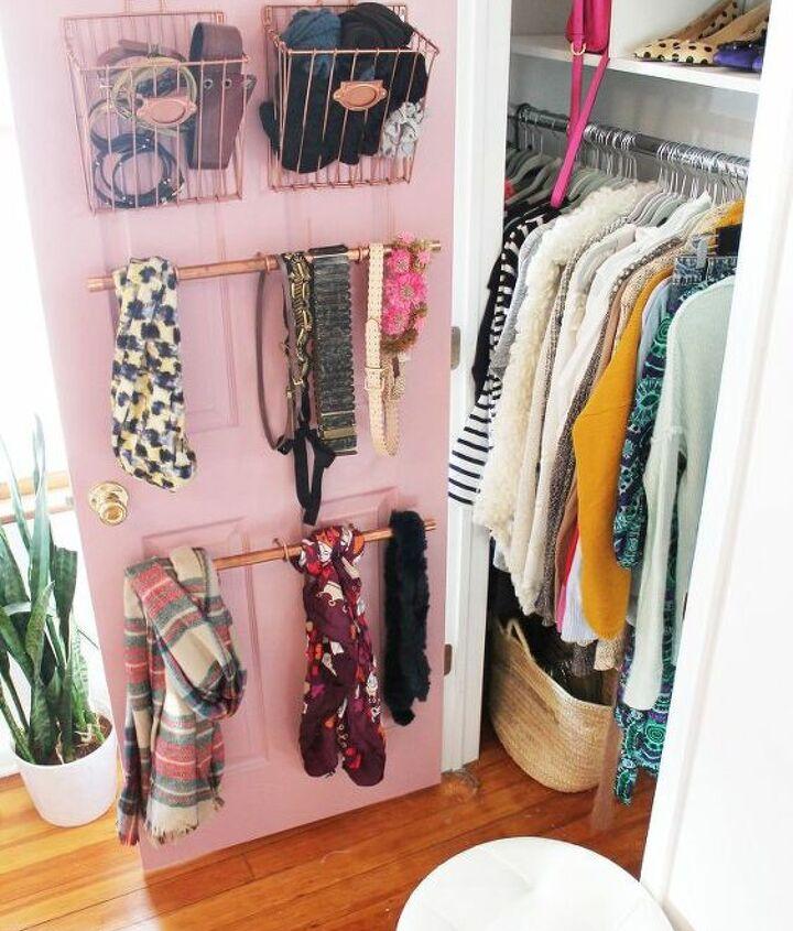 s 13 beauty hacks for your overstuffed closet, closet, doors, organizing, Put stylish pipe hangers inside your door