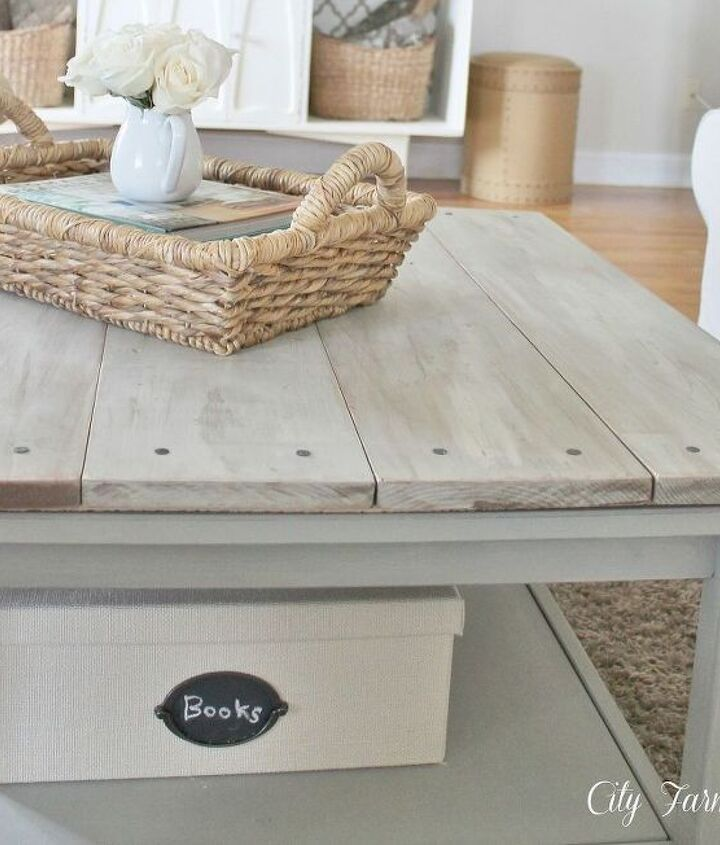 s 17 insanely easy ways to make ikea furniture look amazingly high end, painted furniture, Plank the top of a plasticized coffee table