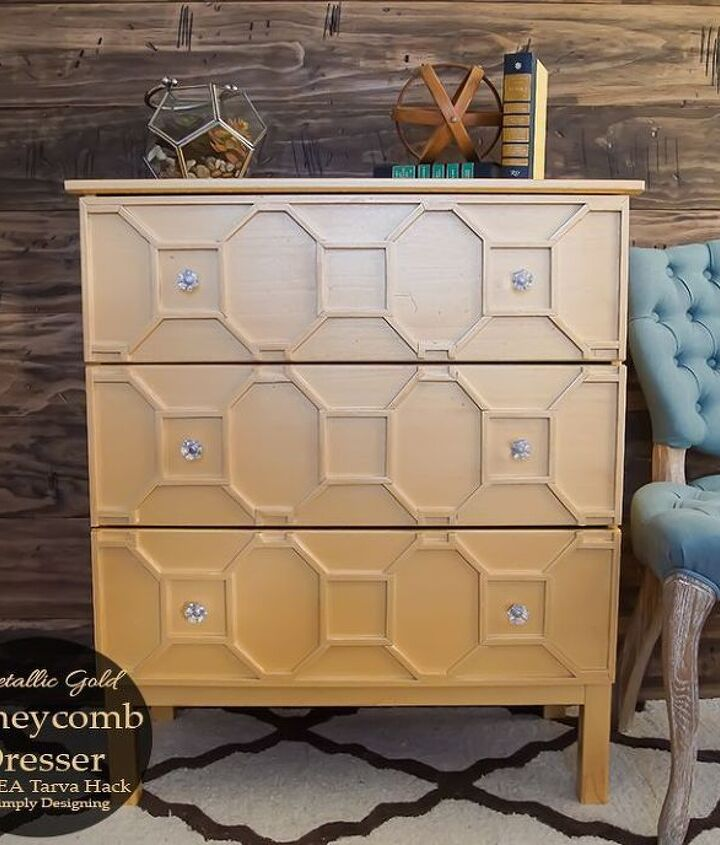 s 17 insanely easy ways to make ikea furniture look amazingly high end, painted furniture, Flip a TARVA into a gold living room stunner