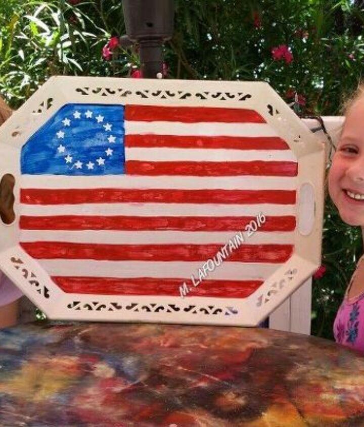 patriot metal tray flag with unicorn spit, crafts, seasonal holiday decor