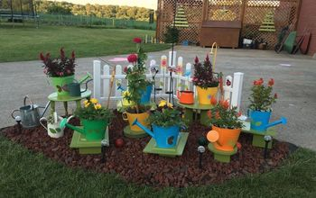 watering can creations, gardening, outdoor furniture, painted furniture, Final version
