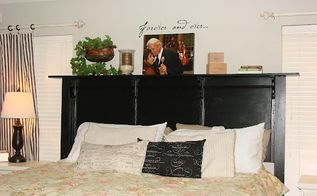building an inexpensive king sized headboard, bedroom ideas, doors, painted furniture, Finished headboard