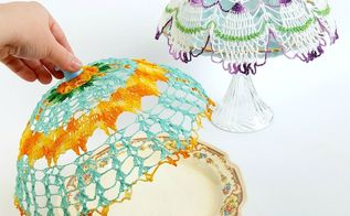 diy vintage doily cloche covers, crafts, how to