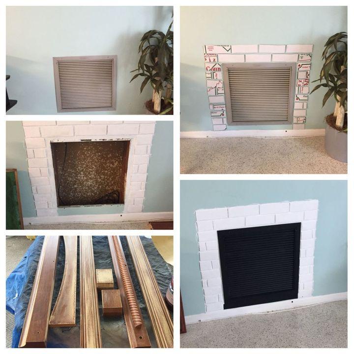 pizza box faux fireplace, fireplaces mantels