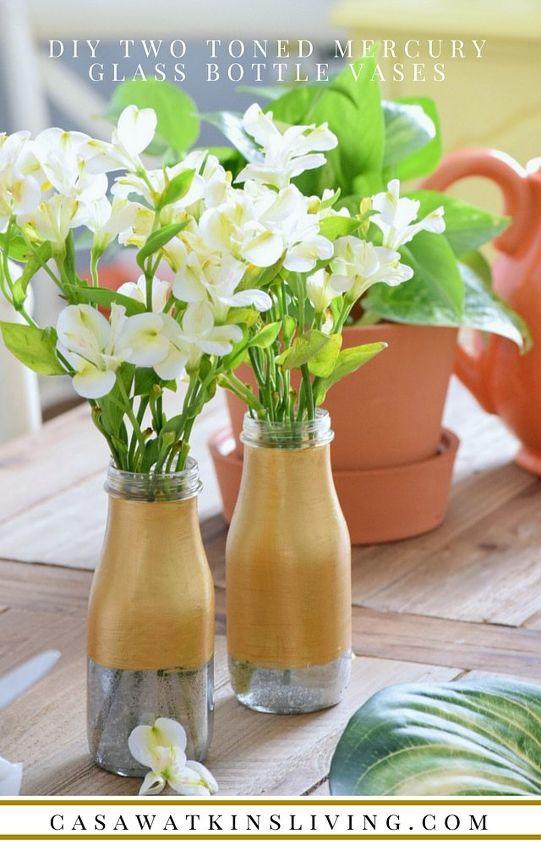 diy two tone mercury glass milk bottle vases, container gardening, crafts, flowers, gardening, repurposing upcycling