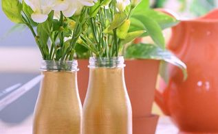 diy two tone mercury glass milk bottle vases, container gardening, crafts, flowers, gardening, repurposing upcycling