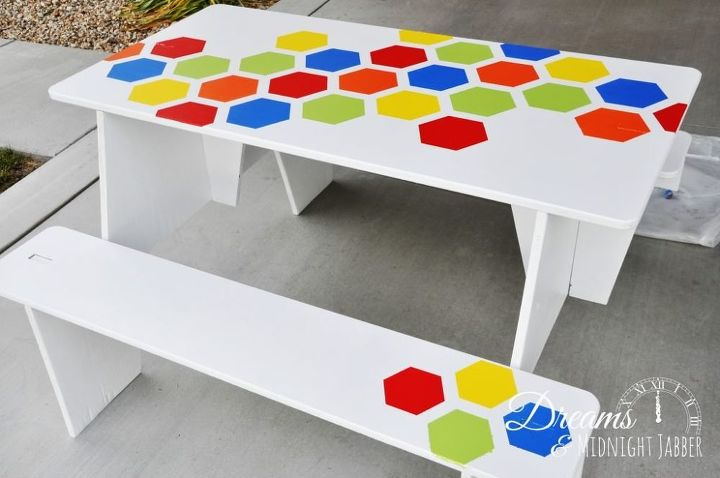 Painted Puzzle Picnic Tables 3 Fun Summer Ideas Hometalk