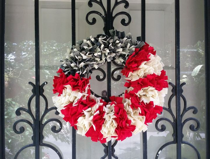 A patriotic wreath made with my old jeans!