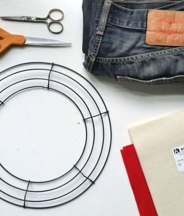 You'll need a frame, felt, scissors & jeans